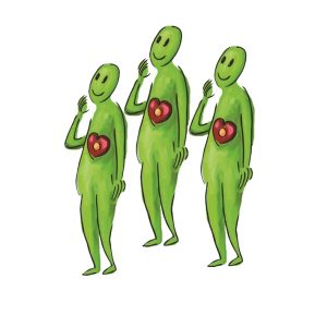 Drei grüne Figuren im Team