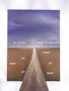 Gemälde: Weg über Feld zum Horizont